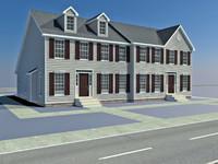 3d row houses model