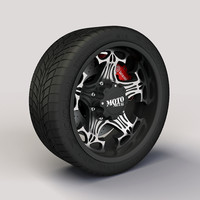 Wheel MotoMetal 909 Skull rim and tyre