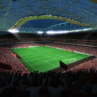 3ds max soccer arena fans animation