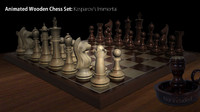 wooden chess set animation 3d model