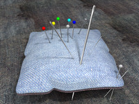 Pin Cushion with Needles and Pins