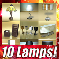 10 table lamps 3d model