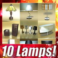 10 table lamps 3d model