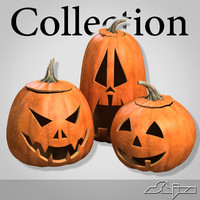 3d model halloween pumpkin heads