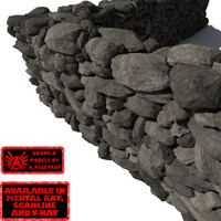 Stone Wall 2 - Dark Grey or Black 3D Rock Wall