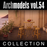 archmodels vol 54 restaurant furniture 3d 3ds