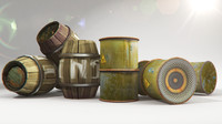 barrels metal wooden 3d obj