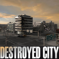 ruined city blocks destroyed building 3d 3ds