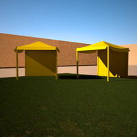 3d model of tent grass area