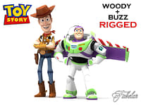 3d model buzz lightyear woody rigged characters
