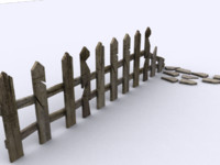 3d model destroyed fences
