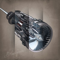 3d jet engine cutaway cuts model