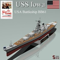iowa battleships 3d obj