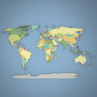world geopolitical geography 3d model