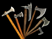 obj medieval battle axes pack