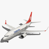 3d turkish airlines boeing plane