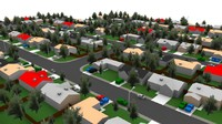 3d houses neighborhood model