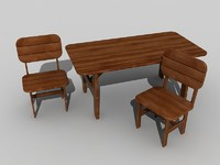 wooden sitting set table chair 3d max