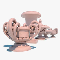 3d model decorative urns