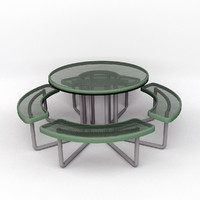 metal picnic table 3d obj
