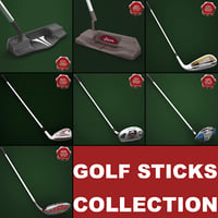 3d golf sticks model