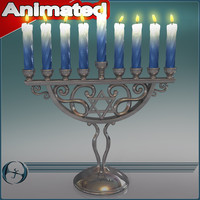 3d model holiday menora candle animation