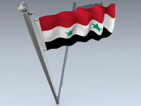 3d model flag syrian arab