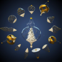 light snow christmas tree 3d c4d