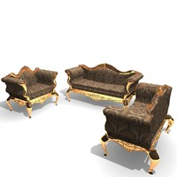 ornamented 3 piece chair 3d 3ds