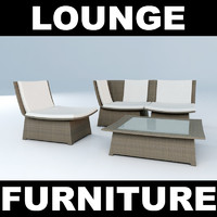 set woven furniture chair 3d max