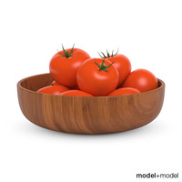 3d model of tomatoes wooden bowl