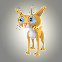 3d simple cartoon cat model