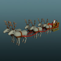 santa reindeers 3d x