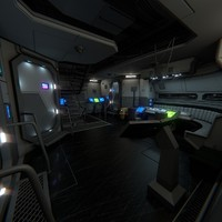 3d obj interior spaceship scene 2