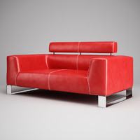 CGAxis Red Leather Sofa 01