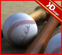 3d baseball balls