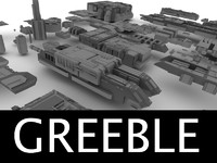 3d model of greebled structures
