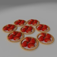 strawberry pastry pies 3d max