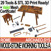 Roman Wood Stone Working Tools Collection STL 3D Print