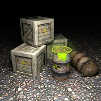 wooden crate barrels 3d max