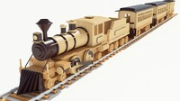 3d model of wood toy train