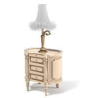 Volpi 2610 Zona Notte Nightstand bedroom chest with Classic Table lamp fur baroque
