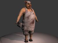 3d butcher pig model