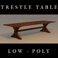 Trestle Table, Low Poly