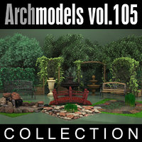 archmodels vol 105 garden 3d c4d