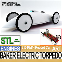 Record Car Baker Electric Torpedo 1902 & STL Printable
