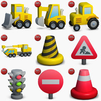 3d construction icons small pack model