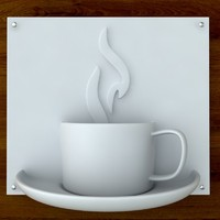 3d Printable Coffee sign STL OBJ