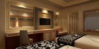 designed hotel room 3d model
