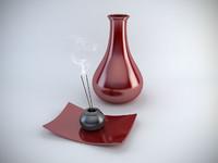 red designer vases 3d obj